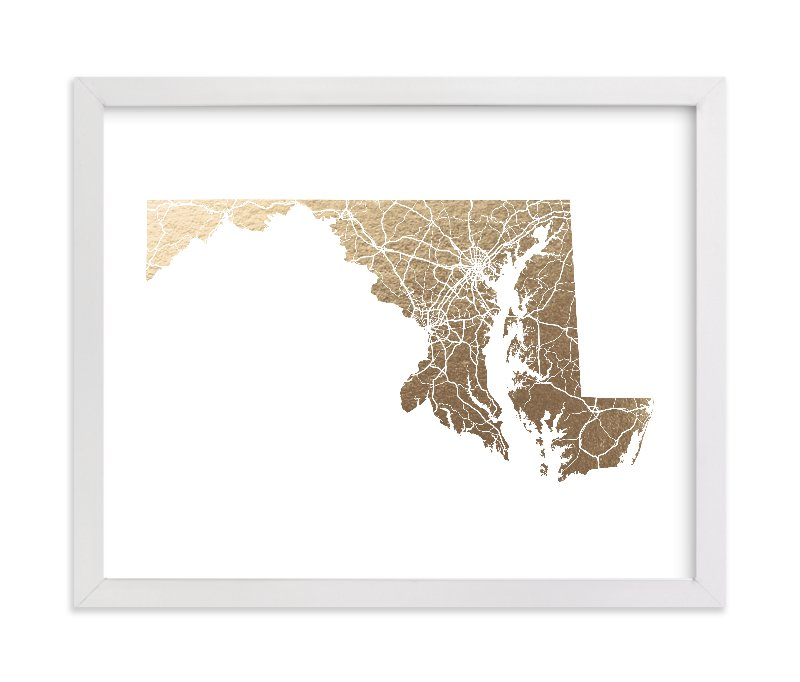 """""""Maryland Map"""" - Foil-pressed Art Print by GeekInk Design in beautiful frame options and a variety of sizes."""