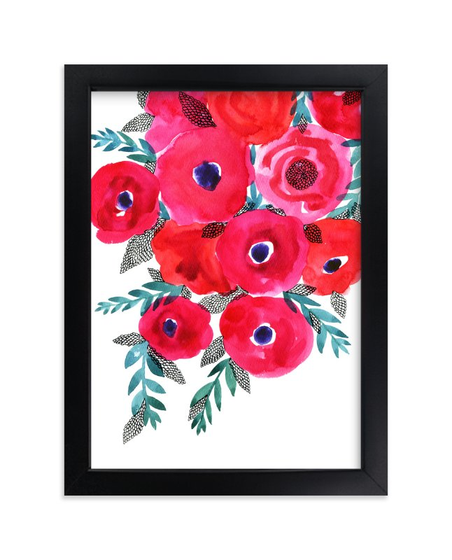 """Red flowers bouquet"" - Limited Edition Art Print by Alexandra Dzh in beautiful frame options and a variety of sizes."