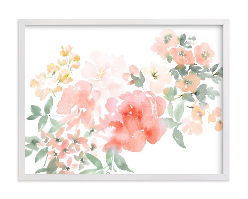 """""""Peony with Spring Flowers"""" - Limited Edition Art Print by Julie Song Ink in beautiful frame options and a variety of sizes."""