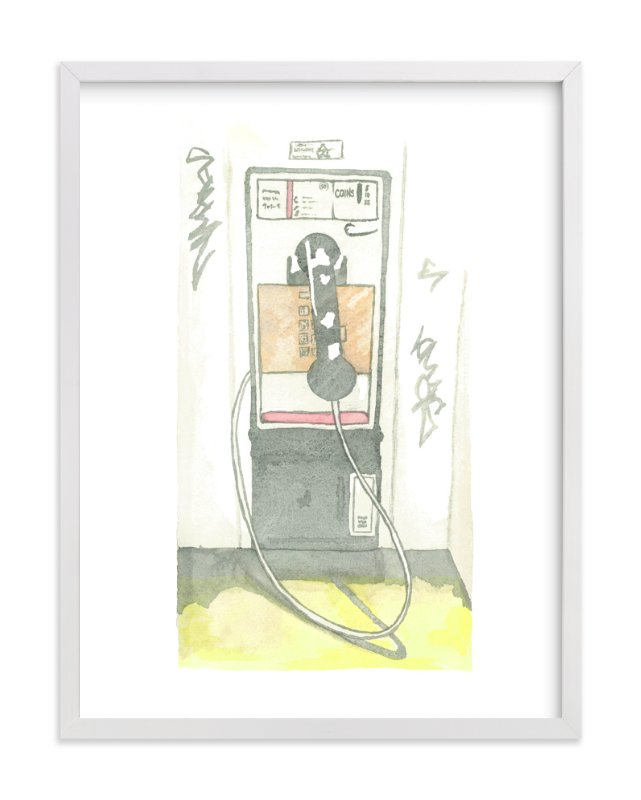 """The Pay Phone"" - Limited Edition Art Print by Michelle Waldie in beautiful frame options and a variety of sizes."