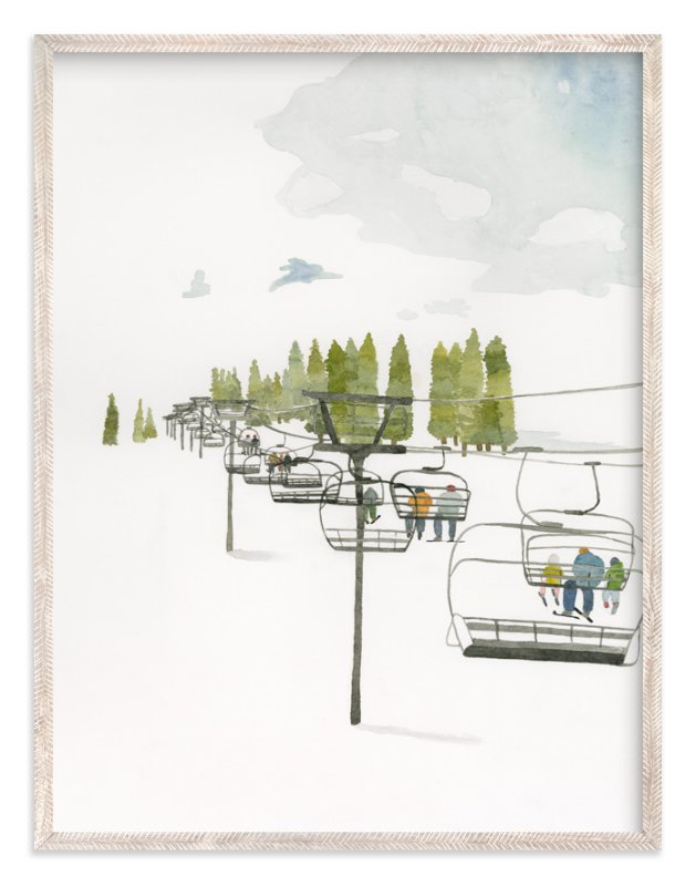 """""""Ski Lift"""" - Art Print by Monica Loos in beautiful frame options and a variety of sizes."""