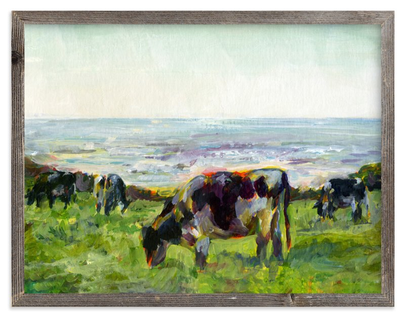 """Marin Cows"" - Limited Edition Art Print by Alex Elko Design in beautiful frame options and a variety of sizes."