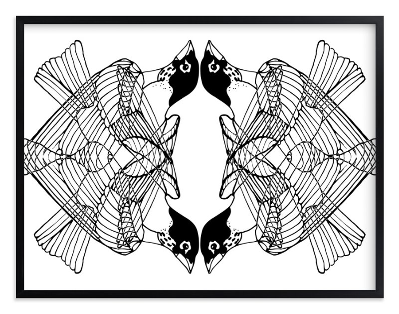 """4 Robins"" - Limited Edition Art Print by Kim Johnson in beautiful frame options and a variety of sizes."