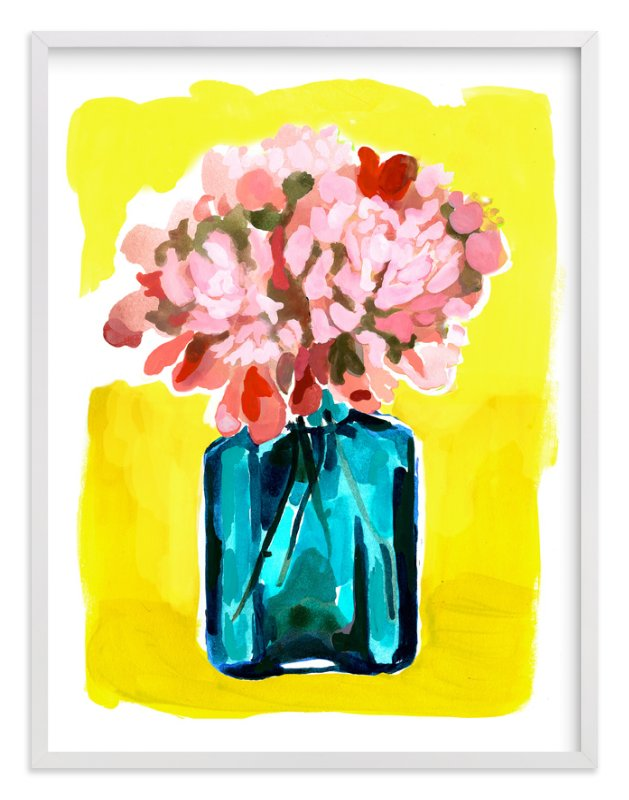 """""""Peony Bottle"""" - Limited Edition Art Print by Betty Hatchett in beautiful frame options and a variety of sizes."""