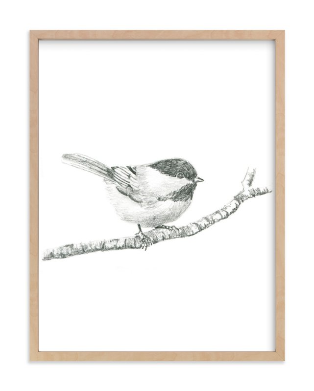 """""""Chickadee"""" - Limited Edition Art Print by Corinne Aelbers in beautiful frame options and a variety of sizes."""