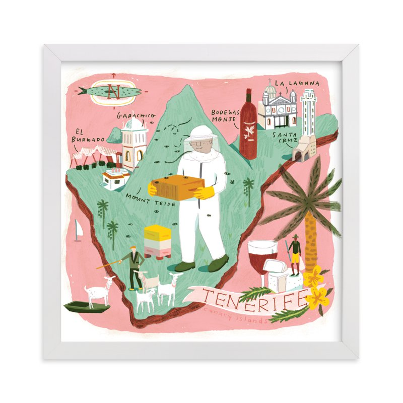 """""""Tenerife Map"""" - Limited Edition Art Print by Lindsey Balbierz in beautiful frame options and a variety of sizes."""
