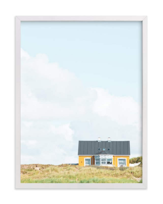 """Yellow House At The Hill"" - Limited Edition Art Print by Alexandra Feo in beautiful frame options and a variety of sizes."