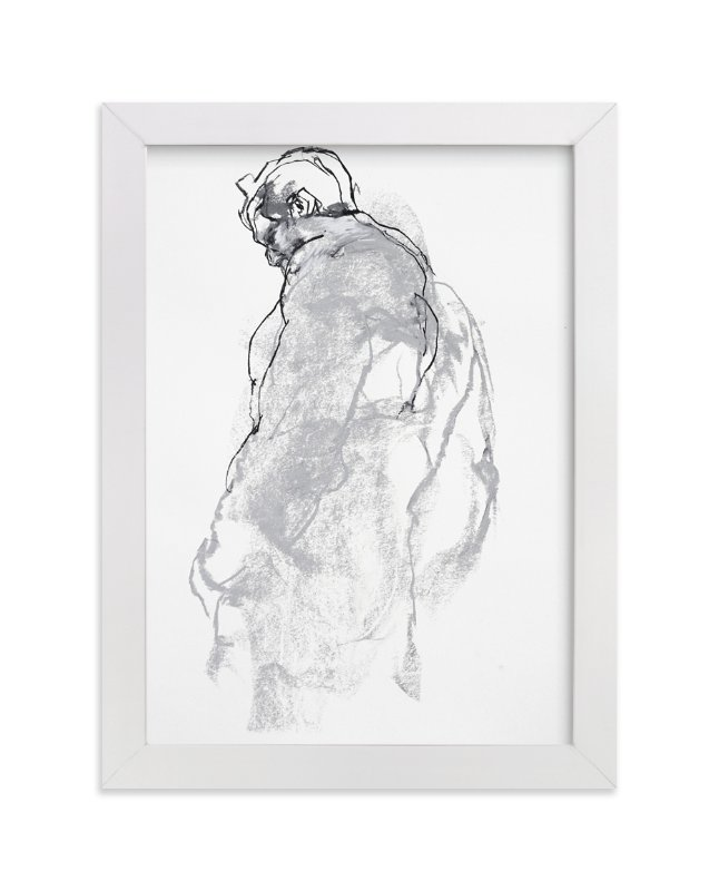 """Drawing 357 - Figure from the Side"" - Limited Edition Art Print by Derek overfield in beautiful frame options and a variety of sizes."