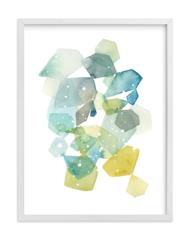 """""""Hexagon with Dots in Blue"""" - Limited Edition Art Print by Yao Cheng Design in beautiful frame options and a variety of sizes."""