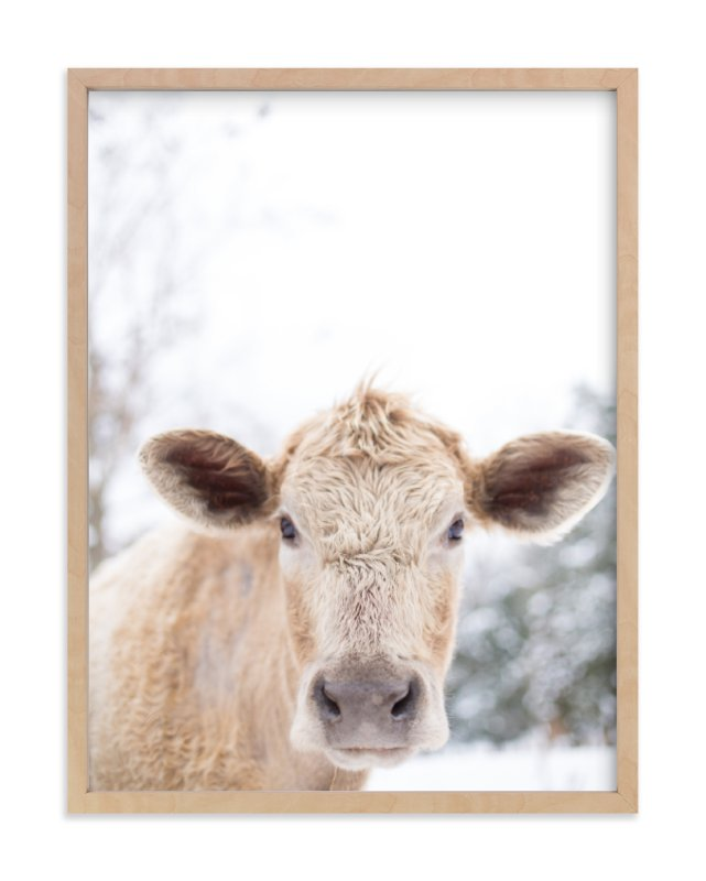 """""""moo cow"""" - Limited Edition Art Print by Emily Gilbert in beautiful frame options and a variety of sizes."""