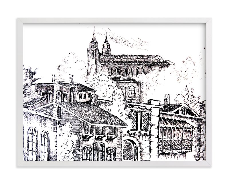 """""""Colonial VIllage"""" - Limited Edition Art Print by Nene in beautiful frame options and a variety of sizes."""