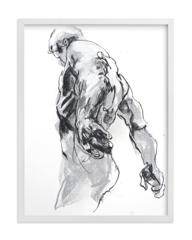 """""""Drawing 369 - Standing Man"""" - Limited Edition Art Print by Derek overfield in beautiful frame options and a variety of sizes."""