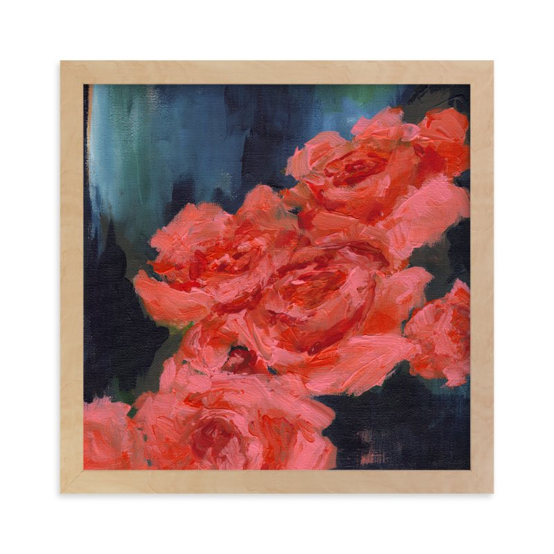 """Coral Roses"" - Limited Edition Art Print by Sonal Nathwani in beautiful frame options and a variety of sizes."