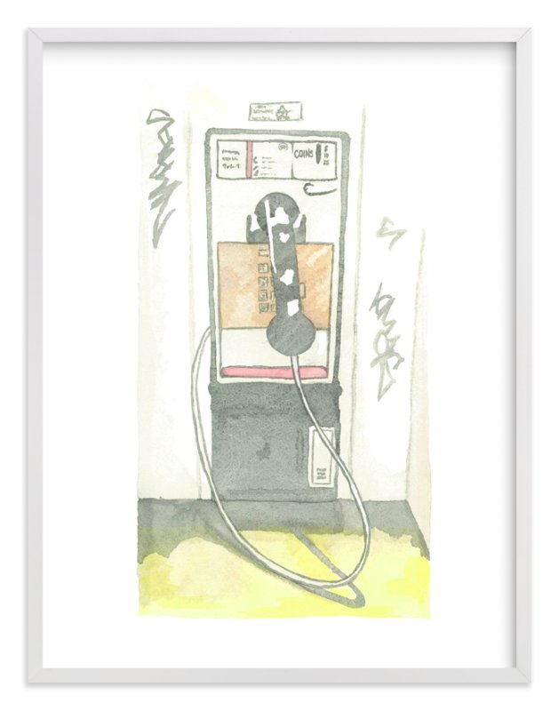 """""""The Pay Phone"""" - Limited Edition Art Print by Michelle Waldie in beautiful frame options and a variety of sizes."""