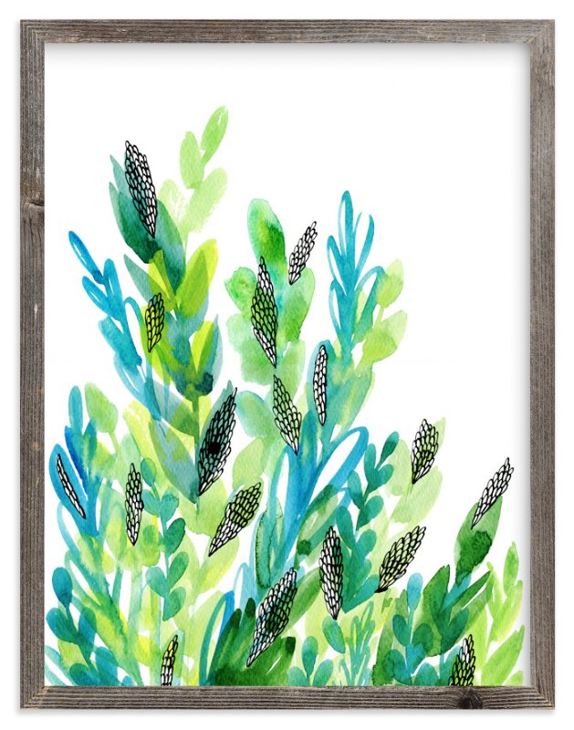"""""""Green floral"""" - Limited Edition Art Print by Alexandra Dzh in beautiful frame options and a variety of sizes."""