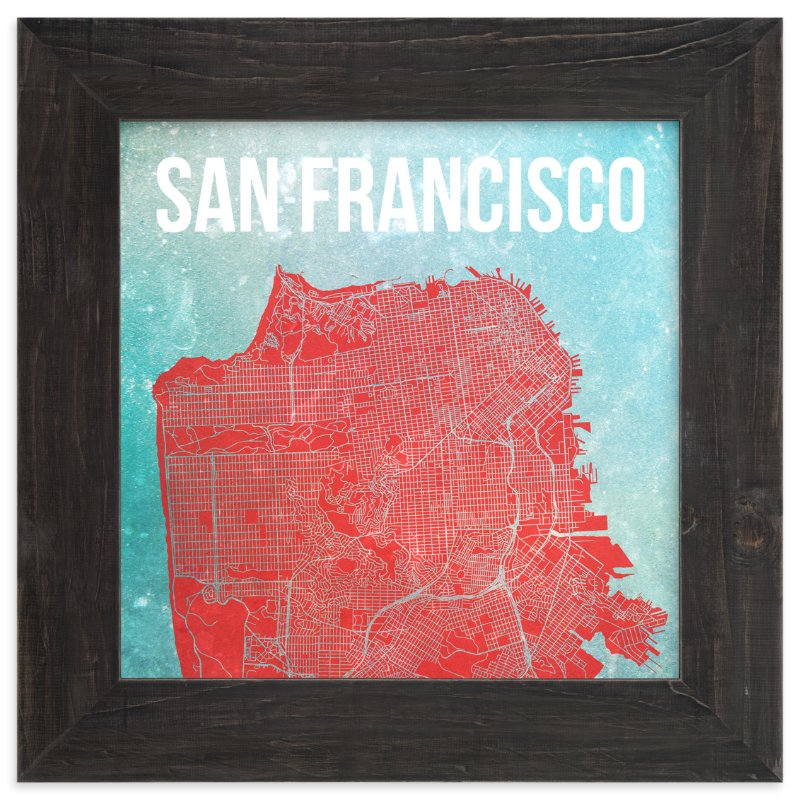 """Map of San Francisco"" - Limited Edition Art Print by Alex Elko Design in beautiful frame options and a variety of sizes."