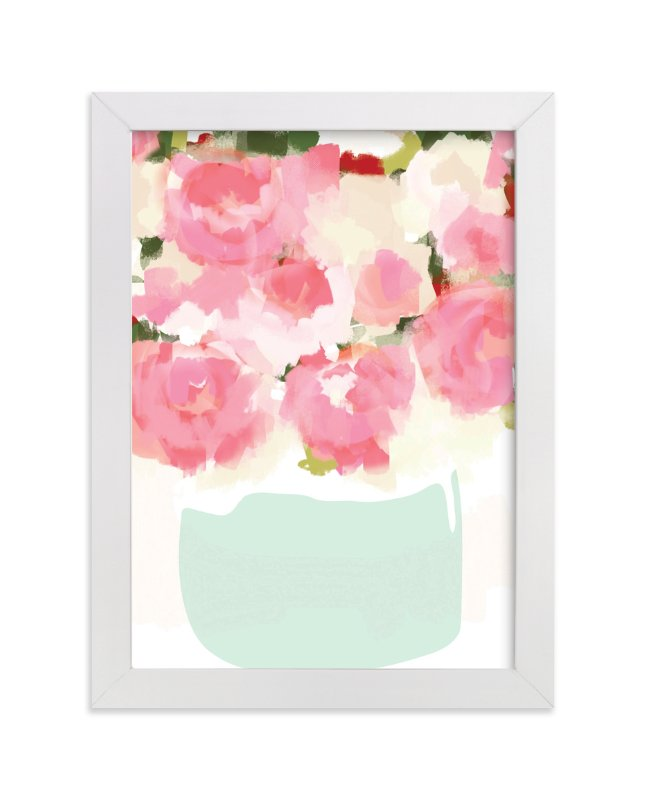 """Peonies in Vase"" - Limited Edition Art Print by kelli hall in beautiful frame options and a variety of sizes."