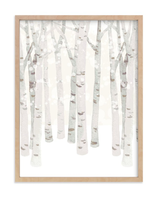 """""""Birch Woods in Winter"""" - Limited Edition Art Print by Four Wet Feet Studio in beautiful frame options and a variety of sizes."""