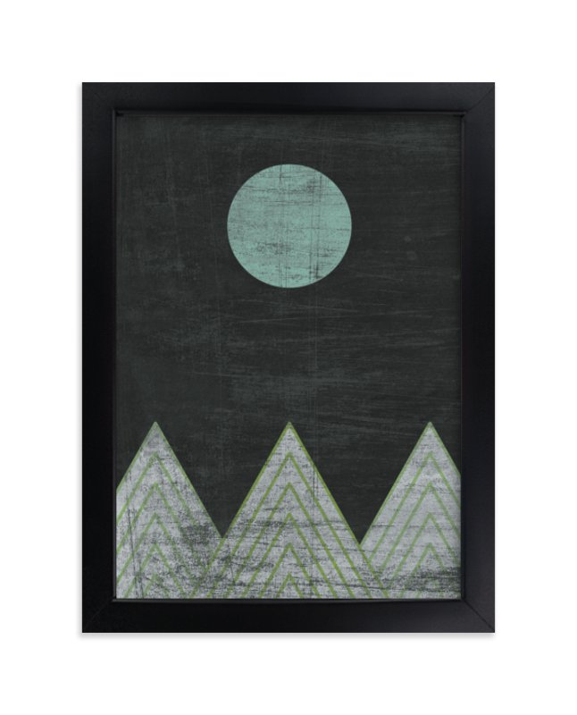 """""""Blue Moon Over Mountains"""" - Limited Edition Art Print by A Little Big Picture in beautiful frame options and a variety of sizes."""