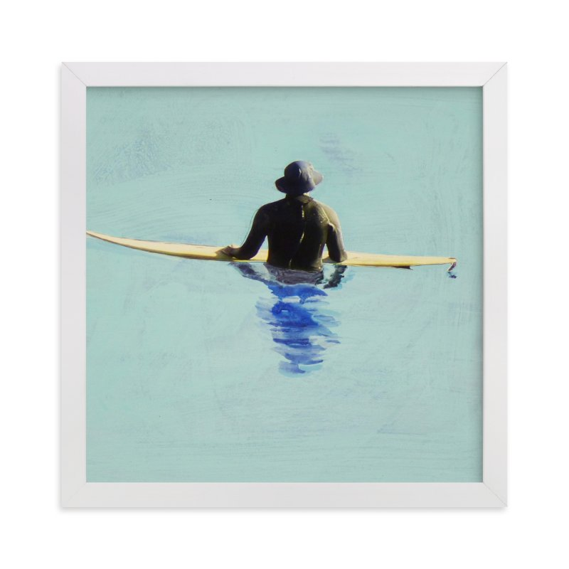 """""""Topanga Hat Wearing Surfer"""" - Limited Edition Art Print by Annie Seaton in beautiful frame options and a variety of sizes."""