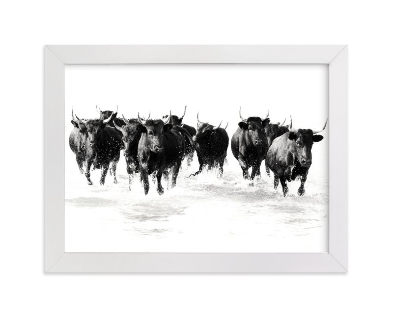 """""""Black Bulls of the Camargue"""" - Limited Edition Art Print by Michelle Detering in beautiful frame options and a variety of sizes."""