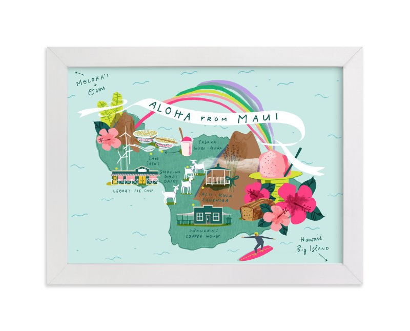"""""""Maui Map"""" - Limited Edition Art Print by Lindsey Balbierz in beautiful frame options and a variety of sizes."""