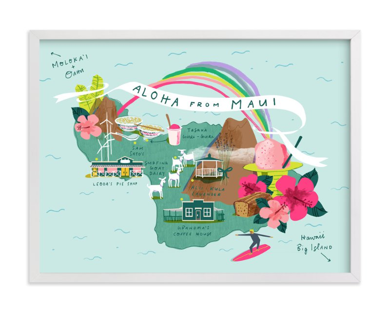 Maui map wall art prints by lindsey balbierz minted maui map limited edition art print by lindsey balbierz in beautiful frame options thecheapjerseys Choice Image