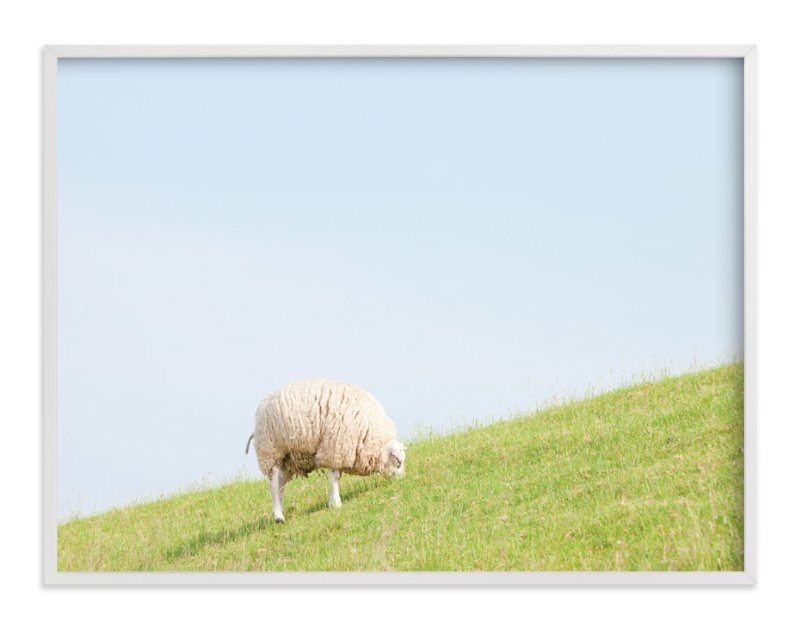 """""""Sheep at Lunch"""" - Limited Edition Art Print by Alexandra Feo in beautiful frame options and a variety of sizes."""