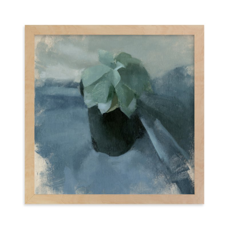 """Succulent in Blue"" - Limited Edition Art Print by Elisabeth Larson in beautiful frame options and a variety of sizes."