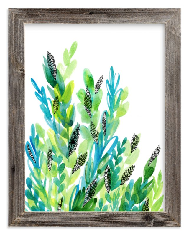 """Green floral"" - Limited Edition Art Print by Alexandra Dzh in beautiful frame options and a variety of sizes."