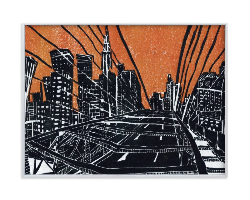 """""""New York Bridge"""" - Limited Edition Art Print by Viktoria Eperjesi in beautiful frame options and a variety of sizes."""