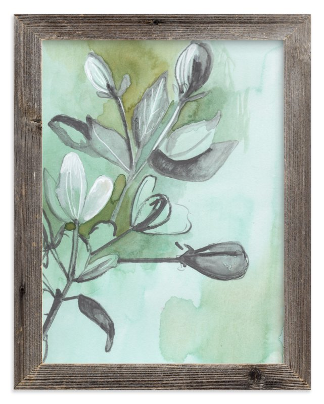 """""""Botanical Sketch in Green"""" - Limited Edition Art Print by Makewells in beautiful frame options and a variety of sizes."""