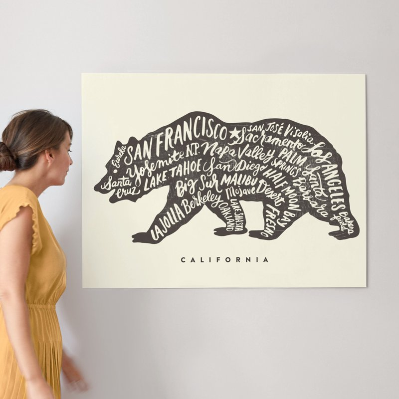 40 x 30 California Bear Wall Art