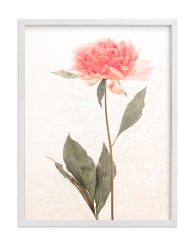 """a pink peony standing gracefully"" - Limited Edition Art Print by Qing Ji in beautiful frame options and a variety of sizes."