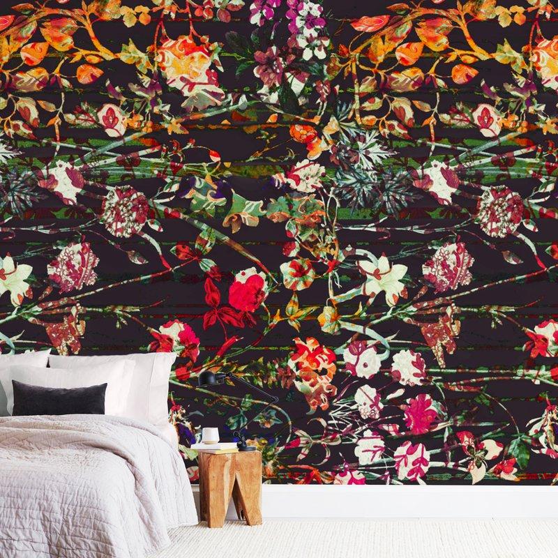 Painted midnight garden Wall Murals