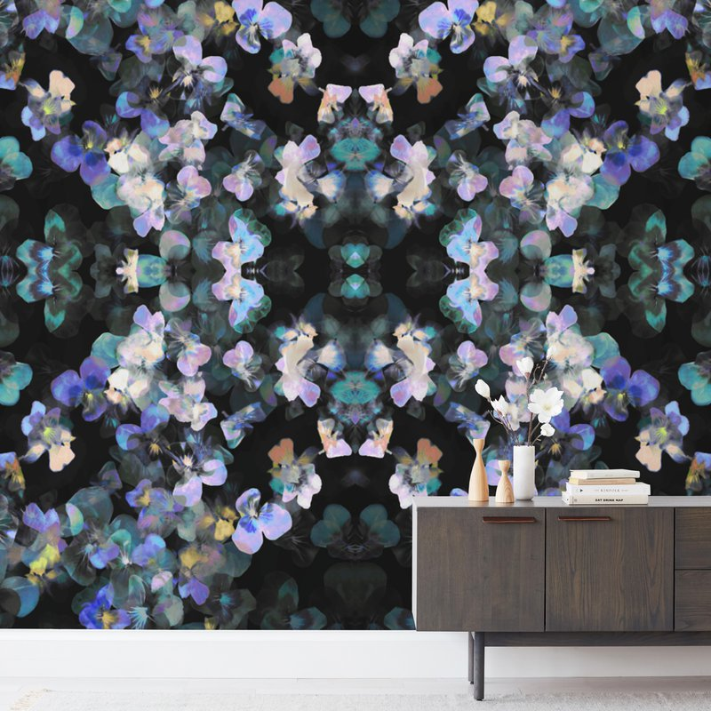 Pansy painting - mirrores Wall Murals