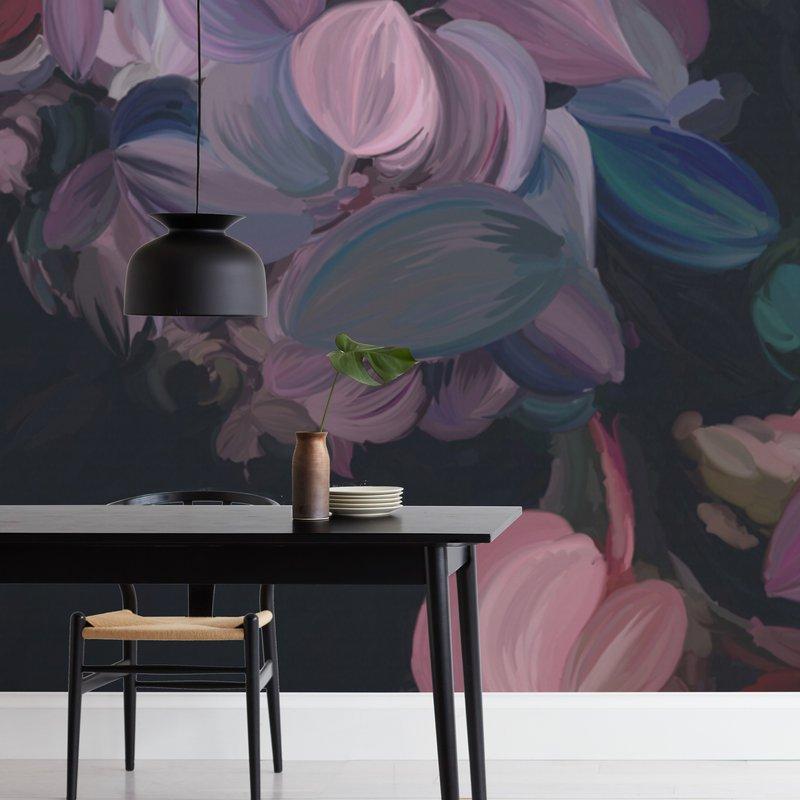 Midnight Petals Wall Murals