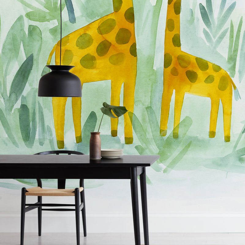 """""""Giraffes on Holiday"""" - Non-custom Wall Murals by Rebecca Daublin in beautiful frame options and a variety of sizes."""
