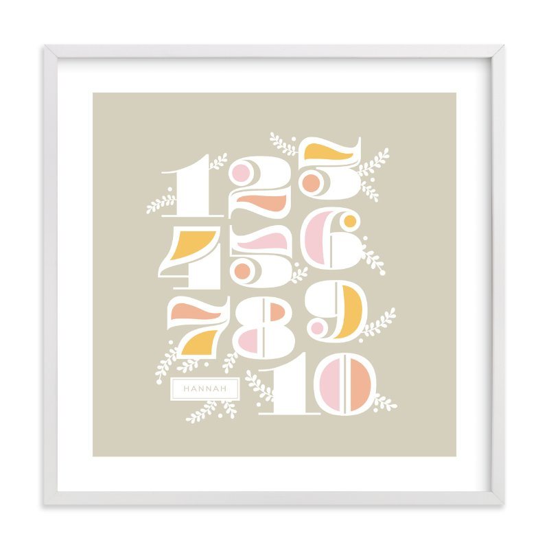 """""""Vining Numerals"""" - Children's Custom Art Print by Cheer Up Press in beautiful frame options and a variety of sizes."""