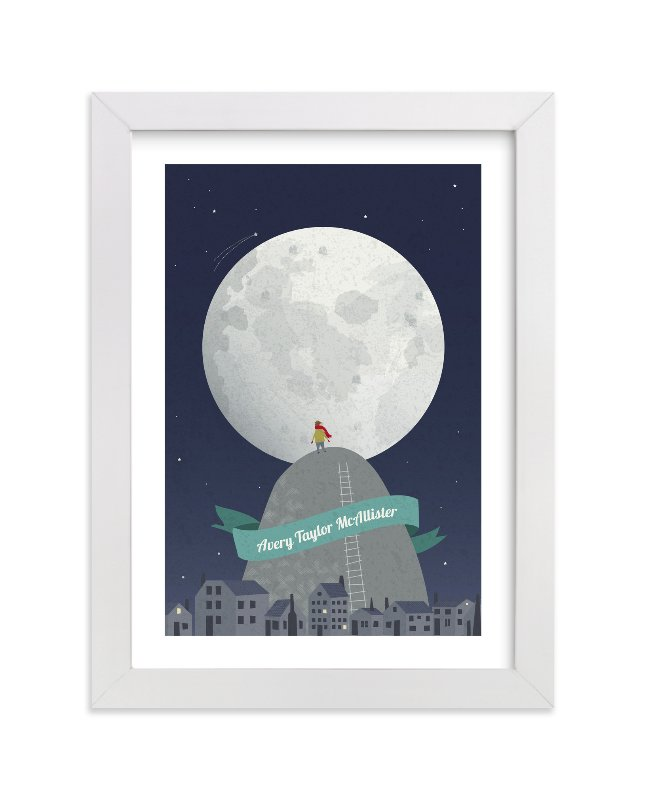 """I See the Moon"" - Children's Custom Art Print by Kayla King in beautiful frame options and a variety of sizes."