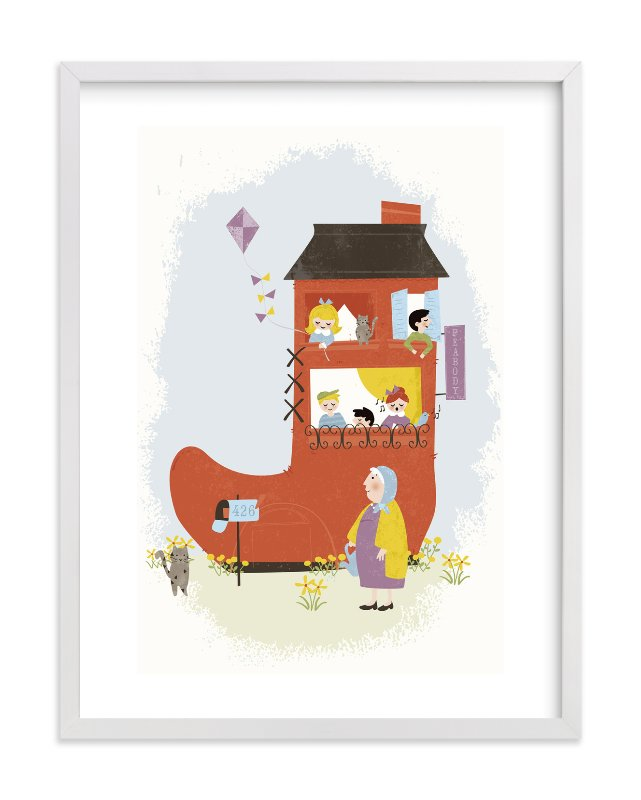 """""""The Old Woman in the Shoe"""" - Children's Custom Art Print by Pistols in beautiful frame options and a variety of sizes."""