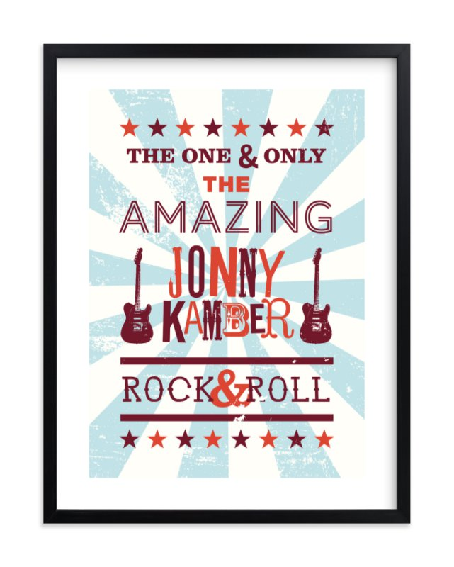 """Rock & Roll Poster"" - Children's Custom Art Print by Shari Margolin in beautiful frame options and a variety of sizes."