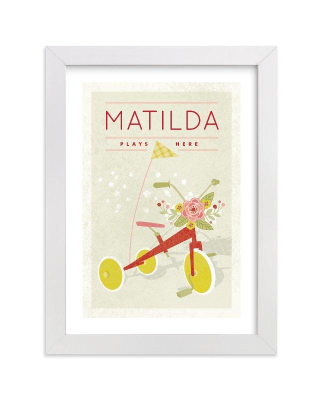 """Botanical Tricycle"" - Children's Custom Art Print by Yolanda Mariak Chendak in beautiful frame options and a variety of sizes."