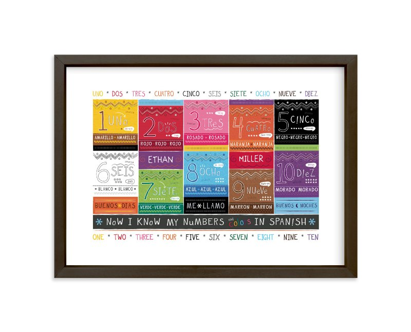 """""""Spanish Numbers + Colors"""" - Children's Custom Art Print by Kimberly Schwede in beautiful frame options and a variety of sizes."""