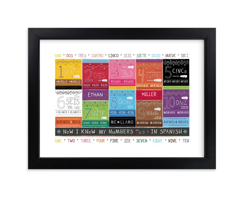 """Spanish Numbers + Colors"" - Children's Custom Art Print by Kimberly Schwede in beautiful frame options and a variety of sizes."
