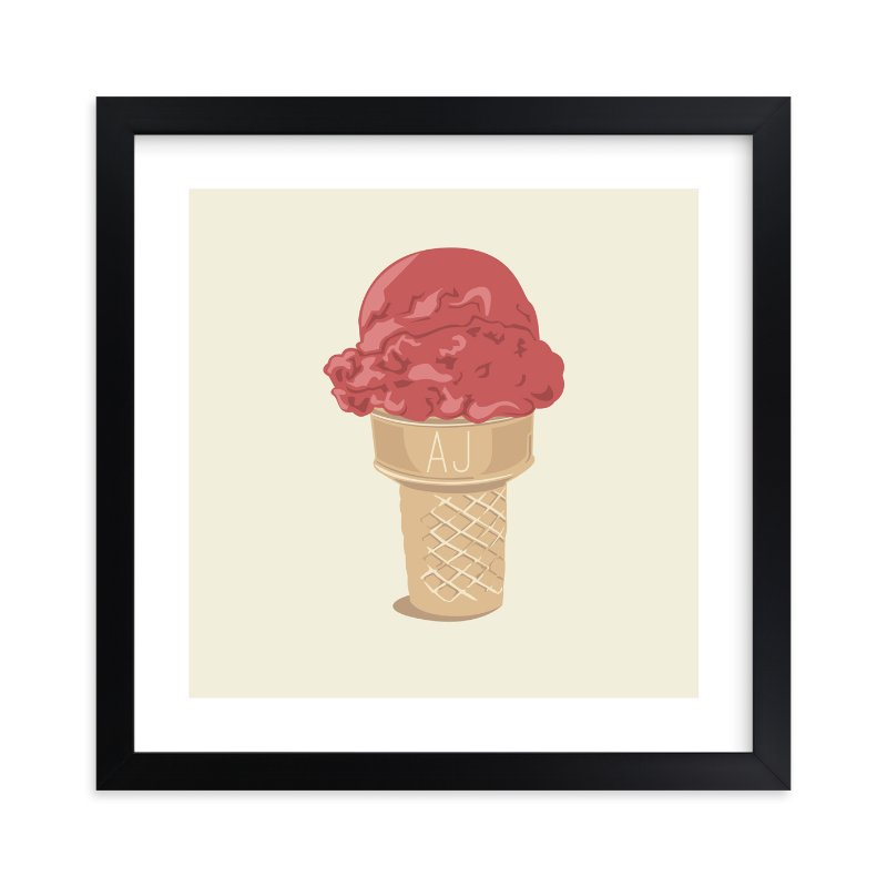 """Ice Cream Monogram"" - Children's Custom Art Print by bumble ink in beautiful frame options and a variety of sizes."