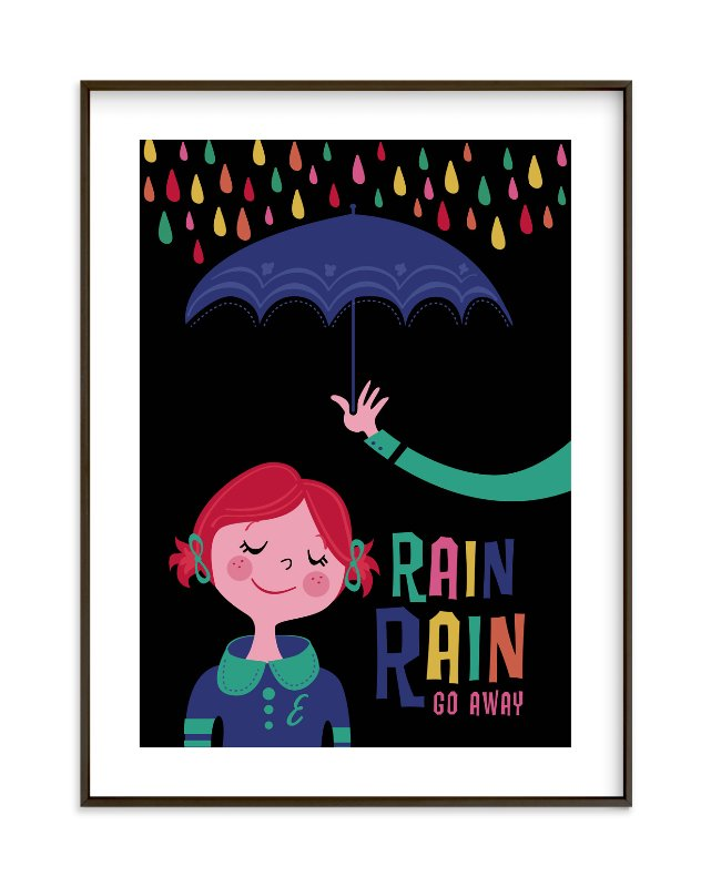 """""""Rainy Day"""" - Children's Custom Art Print by Pistols in beautiful frame options and a variety of sizes."""