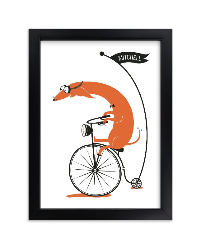 """""""Cycling Sausage"""" - Children's Custom Art Print by Kayla King in beautiful frame options and a variety of sizes."""