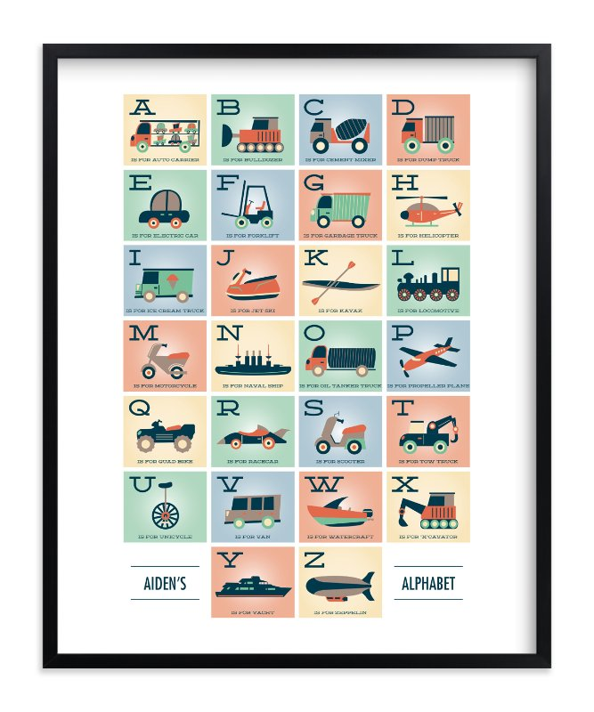 """Alphabet in Motion"" - Children's Custom Art Print by Erica Krystek in beautiful frame options and a variety of sizes."