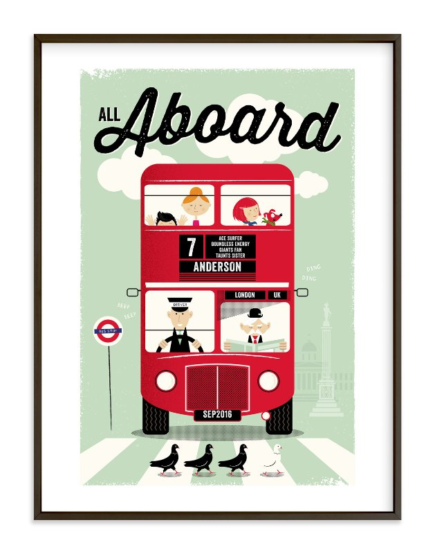 """""""All Aboard"""" - Children's Custom Art Print by The Fine Letter Co. in beautiful frame options and a variety of sizes."""